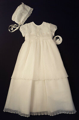 NEW Sarah Louise Ivory Christening Gown & Bonnet 6 Months - Retails $130!