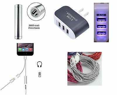 IPhone 7 All Accessory Bundle Powebank+USB Wall Charger+USB Cable+Armband & More