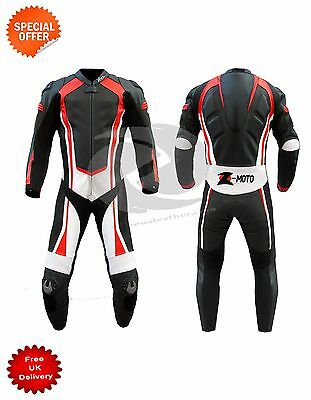 Motorbike leather suit racing suit with florescent red lining bespoke leather