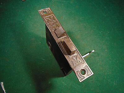 EASTLAKE MORTISE LOCK with KEY - RECONDITIONED, VERY NICE 5 1/4 FACEPLATE (7801)
