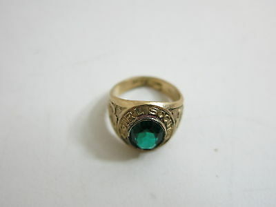 Vintage Girl Scout 10K Gold Filled Class Ring Style Gf Ring With Green Stone