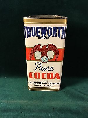 Trueworth Cocoa Tin -Paper Eagle label ~K E Chocolate Company Bay City, Michigan