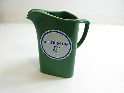 """Vintage Advertising Whiskey Pitcher Worthington E In Green 6 1/2"""" Tall By Wade"""