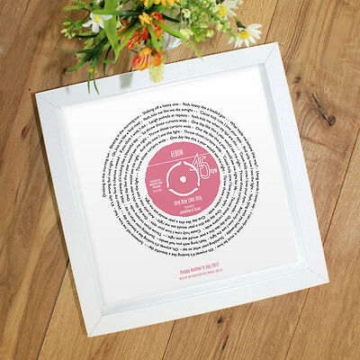 Personalised Song Words Gift for Mothers Day - Any lyrics - Mum Mam Mummy Ma Mom