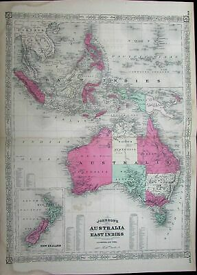 Australia New Zealand Van Diemen's Land East Indies c.1868 antique folio map