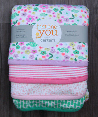 Carter's Just One You Baby Girl Set of 4 Burp Cloths ~Flowers & Turtles ~Stripes