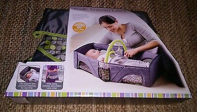 *new* Summer Infant Travel Bassinet Bed With Shoulder Strap Gray And Lime Green