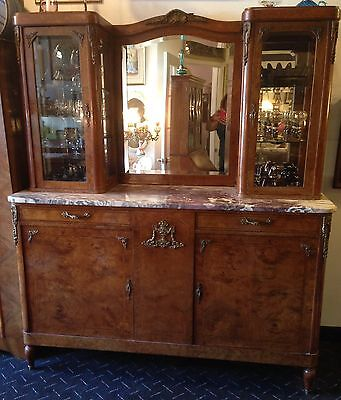 Antique French Satinwood Purple Marble Top Server Buffet with Curios and Mirror