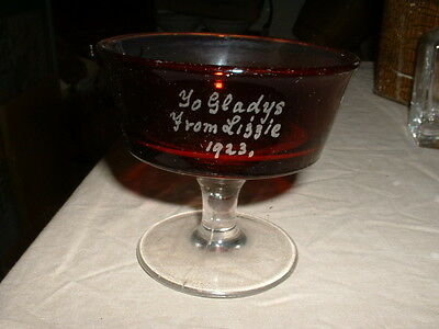 Interesting Antique Pressed Ruby And Clear Glass Presentation Sundae Glass