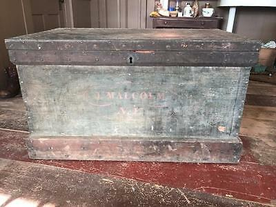 antique original paint Carpenters Tool chest w/ all tools, planes Circa 1830