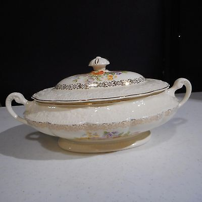 THE EDWIN M. Knowles China Embossed Oval Covered Vegetable Dish ...