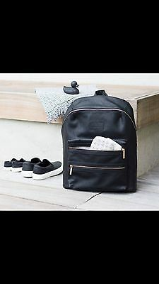 Honest Company Black Diaper City Backpack Changing Pad Vegan Leather