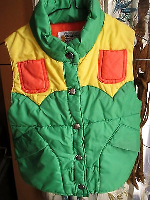 true Vtg 70s Girls Age 8 PUFFY GREEN.ORANGE/YELLOW HIPPY SKI VEST SNAP Jacket