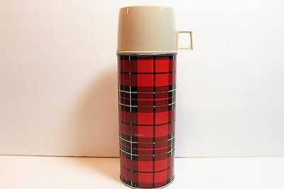 Vintage Plaid Farmhouse Chic Thermos 1 Pint Vacuum Thermos Bottle