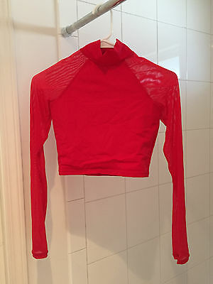 Red Mesh Long Sleeve Dance Top
