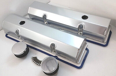 SB Chevy SBC Tall Aluminum Fabricated Valve Cover Kit w/ Gaskests 283-350 59-86