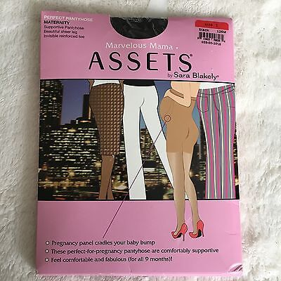 Assets Marvelous Mama Maternity Support Pantyhose Sara Blakely Black SZ 1 Sheer