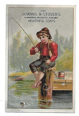 Gowans & Stover's Soap  Ad Advertising Trading Card Victorian Fishing Boy