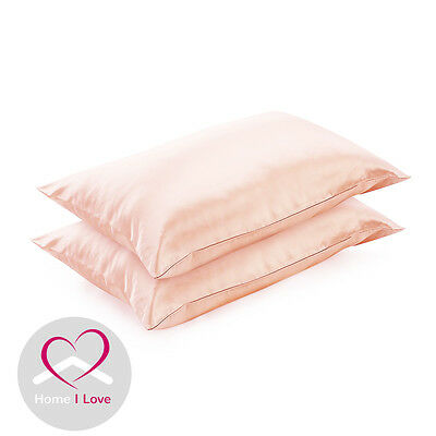 100%Mulberry Silk Set of 2 Pink Pillowcases 22 mm Anti Ageing Healthy Skin&Hair