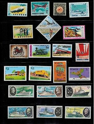 Transport 22 x MNH Collection Plane, Train, Zeppelin, Ship,... WW qq B
