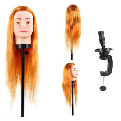 45CM Long Hair Hairdressing Training Head Mannequin Model with Clamp Holder Gold
