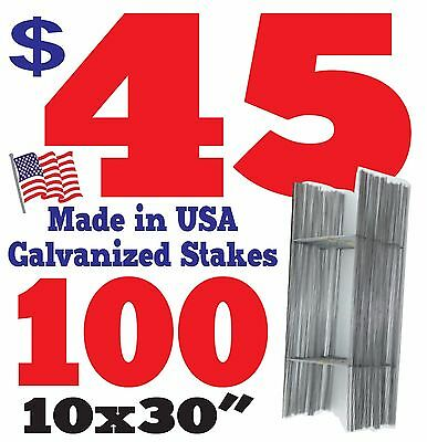 100 H Wire Step Stakes for Corrugated Yard Sign Holder Stands Wholesale - 10x30""