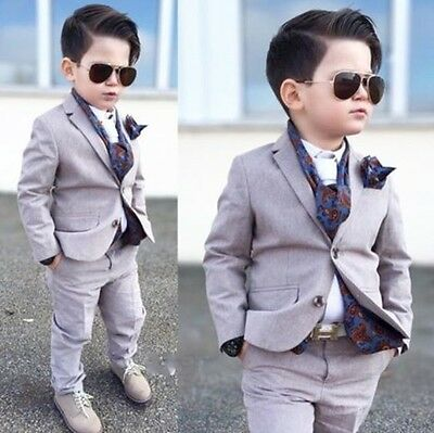 Custom Made Kid's 2 Piece Formal Wedding Groom Tuxedos Boys Children Party Suits