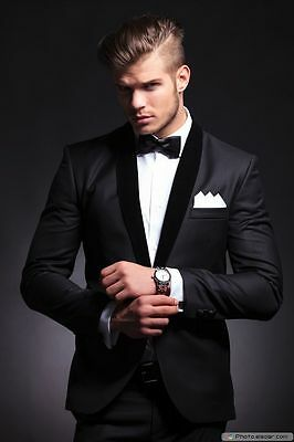 Black 2 Piece Suit Mens Groom Tuxedo Wedding Suit Slim Fit Groomsman Custom Suit