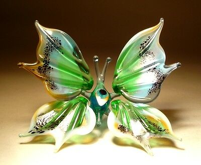 """Blown Glass Figurine """"Murano"""" Art Small Green and White BUTTERFLY"""