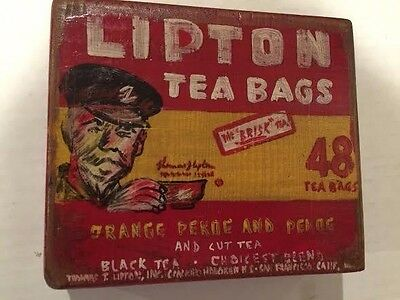Lipton Tea Bags Painted Art - Advertisement - on wood - Great Collectible