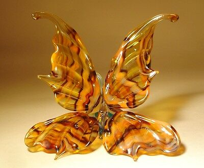 """Blown Glass Figurine """"Murano"""" Art Insect Orange and Brown Striped BUTTERFLY"""