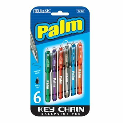 6 pcs/pack Palm Mini Ballpoint Pen with Key Ring, Assorted color