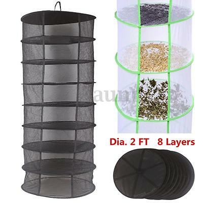 2FT 8 Layer Black Collapsible Hydroponic Mesh Plant Bud Drying Hanging Rack Nets