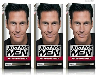 3x SHAMPOOING COLORANT HOMME JUST FOR MEN Noir coloration masculin cheveux