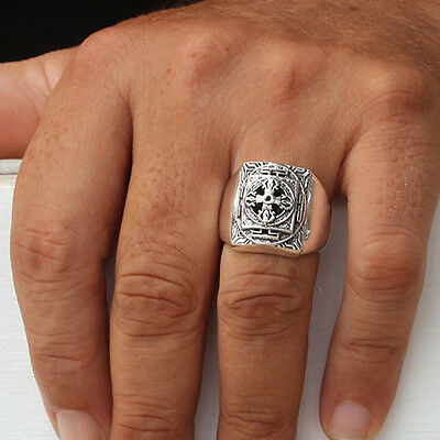 925 Solid Sterling Silver Signet with Cross Men's Ring Black CZ Stone Size S U V
