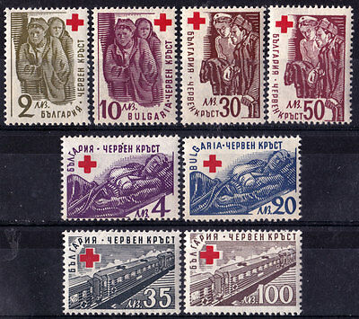 WW2 - BULGARIA - War Charity set - Red Cross-Train,Soldier,Nurse-MNH,1-st issue
