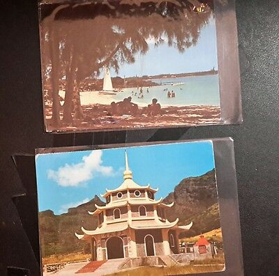 2 Mauritius postcards with stamps vintage