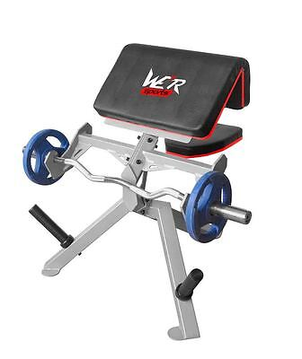 Commercial Preacher Curl Bench Arms Biceps Dumbbell Barbell Weight Training