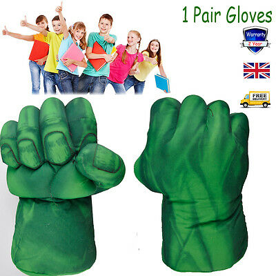 Green Incredible Hulk Smash Hands Plush Punching Boxing fists Gloves Toy Hobbies