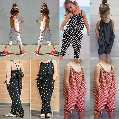 Toddler Kids Baby Girls Summer Strap Romper Jumpsuit Harem Pants Clothes Outfits