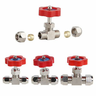 6mm/8mm/10mm Nickel-Plated Brass Plug Durable Tube Needle Valve OD For Swagelok