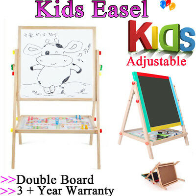 Kids Easel - Wooden 2in1 Blackboard Whiteboard White Drawing Writing Chalk Board