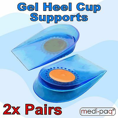 MEDIPAQ™ 2x Pairs Gel Heel Cup Supports - Foot Pain Relief Protector Protection
