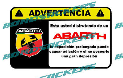 Vinilo impreso pegatina ADVERTENCIA ABARTH RACING STICKER DECAL