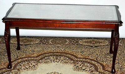 Antique Queen Anne Style Carved mahogany Leather Top Coffee Table [PL3112]