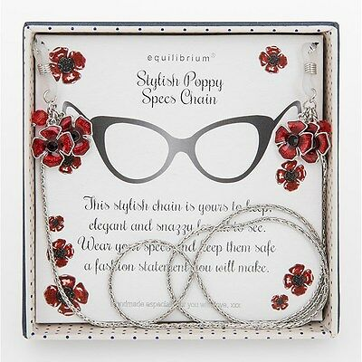 Equilibrium Silver Plated Glasses Spec Chain With Red Poppy Detail 274406 Gift