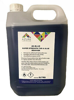 Azure Az-Blue Super Strength Tar & Glue Remover Fast Acting Solvent Based - 5L