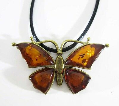 Bronze Solid Brass Amber Female Ornament Vintage Pendant Butterfly # 253-2