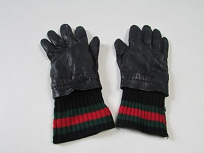 GUCCI unisex black leather cashmere gloves size 7 small