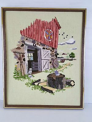 Paragon THE CHOPPING BLOCK #0907 Finished Framed Barn Farm Crewel Embroidery